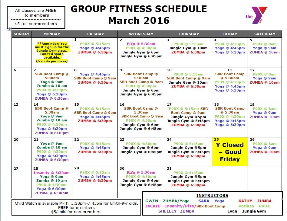 March Fitness Schedule Randolph County Ymca