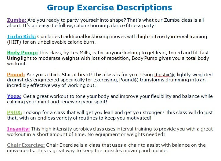 April Group Exercise Schedule – Randolph County YMCA