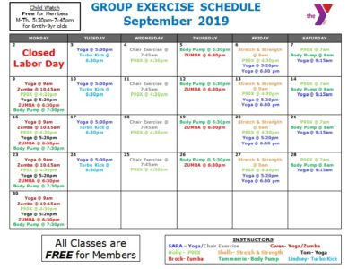 Group Exercise Schedule – Randolph County YMCA