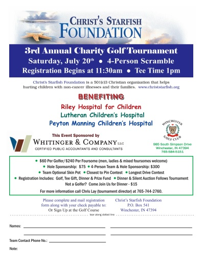 3rd Annual Christ's Starfish Foundation Charity Golf Tournament